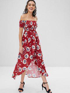 Smocked Off Shoulder Asymmetrical Dress - Cherry Red L
