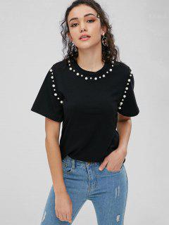 Camiseta Básica De Perlas De Imitación - Negro S