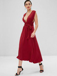 Criss Cross Knotted Maxi Dress - Cherry Red S