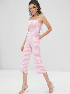Cami Tie Back Striped Wide Leg Jumpsuit - Light Pink L
