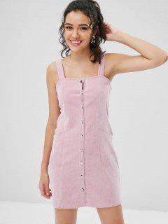 Pockets Button Front Corduroy Pinafore Dress - Light Pink Xl