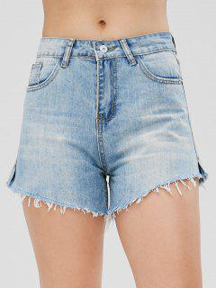 Cutoffs Slit Denim Shorts - Jeans Blue L