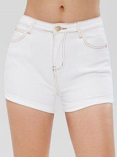 Rolled Contrasting Topstitching Denim Shorts - White L