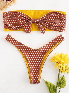 Knot Polka Dot Bandeau Bikini - Chestnut M