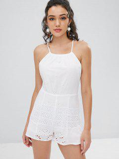 Eyelet Criss Cross Romper - White L