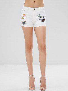 Pockets Butterfly Print Denim Shorts - White L
