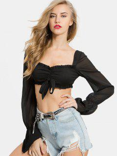 Ruched Bowknot Crop Blouse - Black M