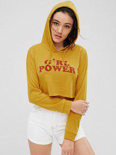 Sudadera Con Capucha Recortada De Girl Power - Amarilla De Abeja  L