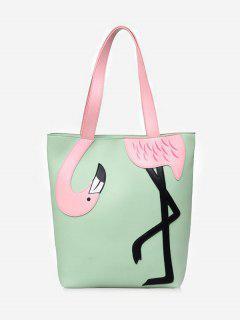 Chic Outdoor Flamingo Embellished Color Block Shoulder Bag - Green