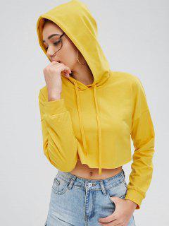 Drawstring Crop Hoodie - Yellow L