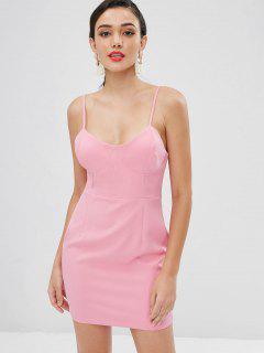 Cami Back Zipper Mini Dress - Pink Rose L