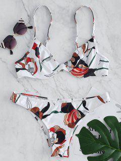 Bikini Con Aros Y Estampado De Flores - Blanco L