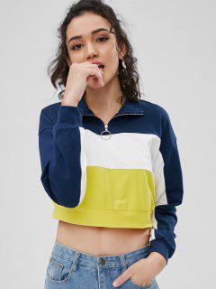 Half Zip Contrast Sweatshirt - Multi L