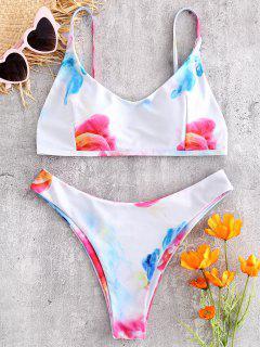 Farbiges Smocked Abnehmbares Cups Bralette Bikini Set - Weiß L