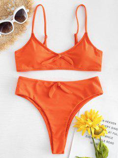 High Cut Knot Bikini - Orange  S
