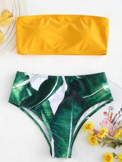 Palm Leaf Strapless High Cut Bikini Set - Rubber Ducky Yellow L