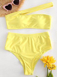 Bikini à Une Épaule Dénudée Coupe Haute - Jaune L