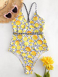Cross Strap Lemon Dots High Cut Swimsuit - Multi L