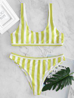 Bikini Taille Haute à Rayures Et Encolure En V - Vert Vase S