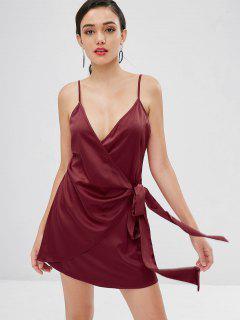 Satin Wrap Mini Dress - Red Wine M
