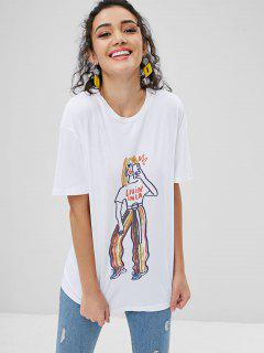 Painted Figure Print Graphic Oversized T-Shirt - White M
