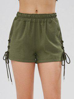 Pockets Lace Up High Waisted Shorts - Army Green M