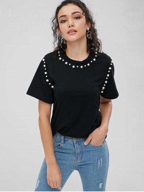 Camiseta básica de perlas de imitación - Negro M Mobile