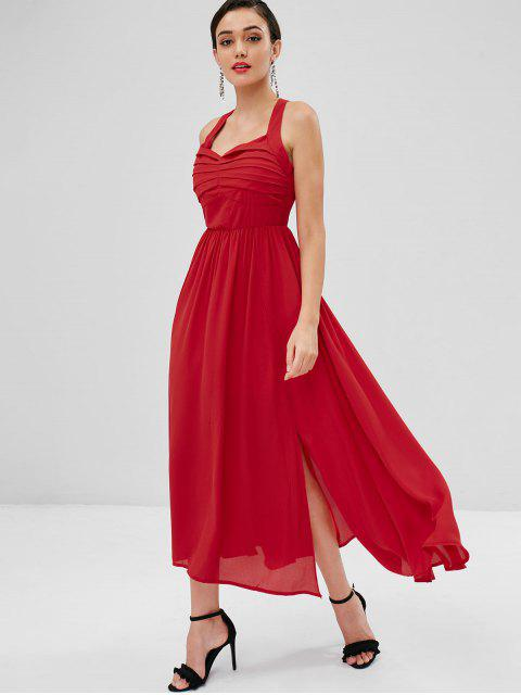 affordable Criss Cross Strappy Maxi Dress - RED M Mobile