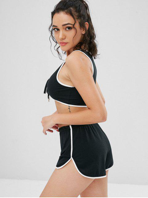 fancy Lace Up Piping Shorts Set - BLACK S Mobile