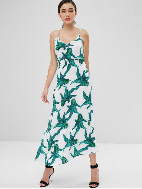 women Cami Palm Print Maxi Beach Dress - WHITE XL Mobile