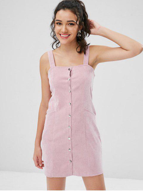 Tasche Knopf Vorder Corduroy Schürze Kleid - Pink M Mobile