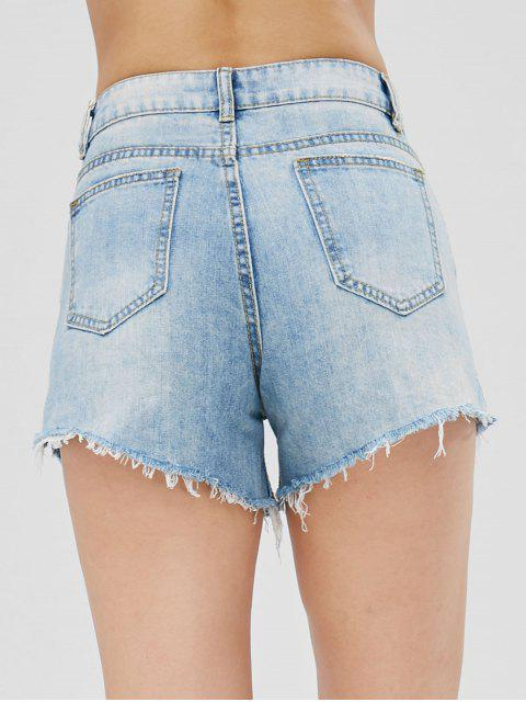 Cutoffs Slit Denim Shorts - Bleu de Jean L Mobile