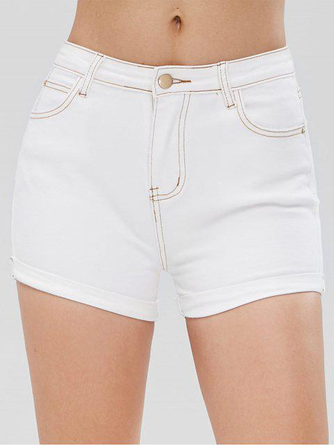 outfit Rolled Contrasting Topstitching Denim Shorts - WHITE S Mobile
