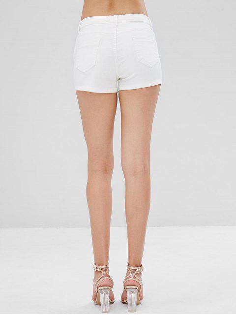 Short en Jean avec Poches à Imprimé Papillons - Blanc XL Mobile