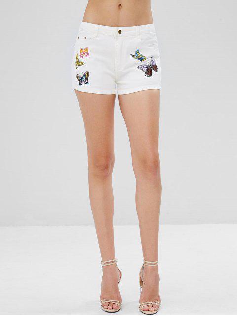buy Pockets Butterfly Print Denim Shorts - WHITE M Mobile