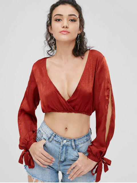 outfits Knotted Sleeves Low Cut Blouse - BLOOD RED S Mobile