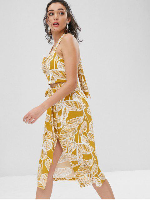 online Palm Leaves Button Up Skirt Set - GOLDEN BROWN L Mobile