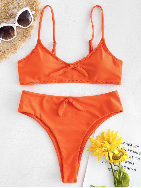 affordable High Cut Knot Bikini - ORANGE S Mobile