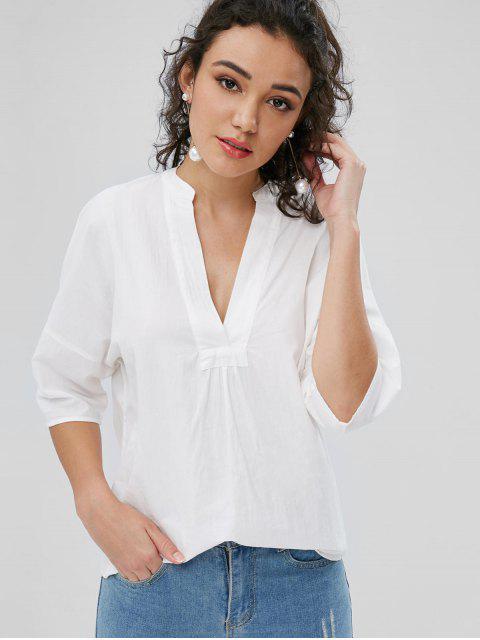 V-Ausschnitt Baumwolle Tunika - Weiß S Mobile