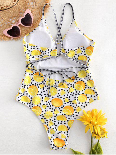 latest Cross Strap Lemon Dots High Cut Swimsuit - MULTI S Mobile