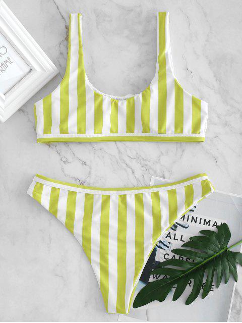 U-Ausschnitt Streifen Niedriger Taille Bikini - Schleim Grün L Mobile