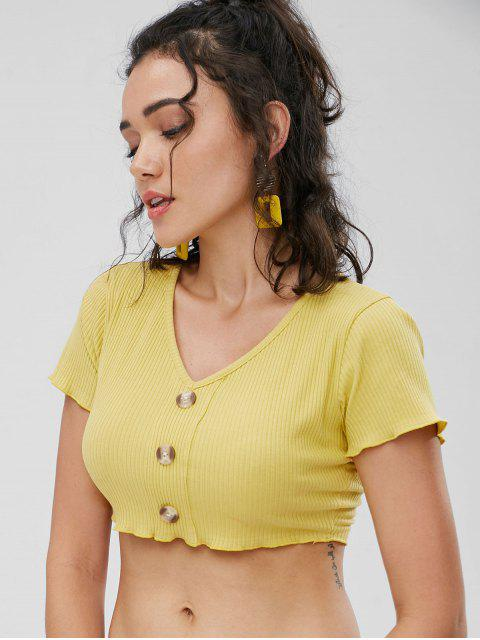 affordable Buttons Ribbed Cropped Top - HARVEST YELLOW M Mobile
