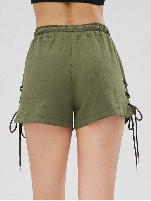 Short avec Poches à Taille Haute à Lacets - Vert Armée  M Mobile