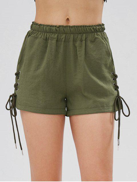 Taschen Schnürung Hoch Taillierte Shorts - Bundeswehrgrün L Mobile