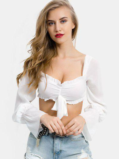 Ruched Bowknot Crop Blouse - Milk White S