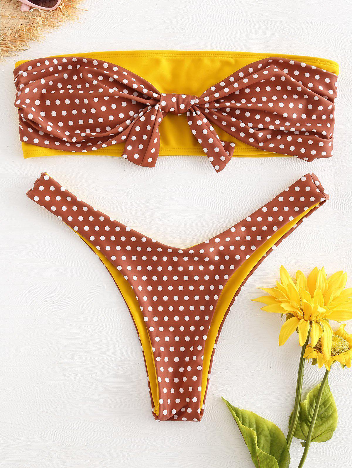 Knot Polka Dot Bandeau Bikini, Chestnut