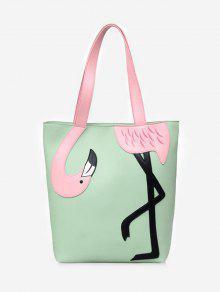 حقيبة كتف بلون ازرق من فلامنغو مزينة باللؤلؤ - أخضر
