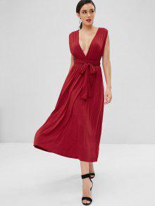 Anudado Rojo Vestido Cruzado Cereza S Maxi xaqv78
