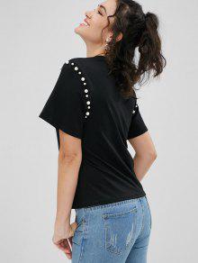 B Negro De S Camiseta 243;n De Imitaci Perlas 225;sica 7Ww1TdnqF