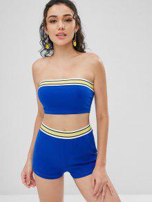 Band Juego Dos Shorts De Piezas A Cobalto Azul Top M Conjunto Striped RWdpSqOR